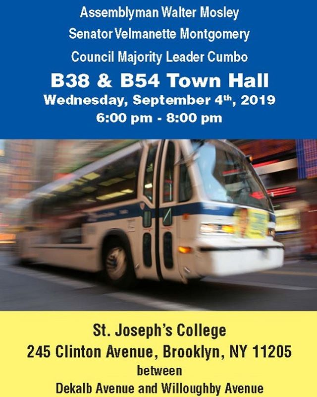 Hey Family, Join the town hall, happening today!! the following bus routes are changing. Please like and share with your networks! . . . . . #busorutes #brooklyncommunity  #stjoesphcollege #like #share #b38 #b54