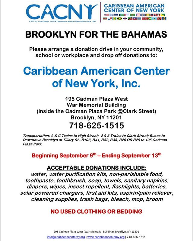 Hey Family,  Please join CACNY to SUPPORT the BAHAMAS RELIEF EFFORT - THIS WEEK!! . . . #donationdrive #bahamas #like #share #brooklyncommunity  #brooklyn #support #bahamasreliefeffort