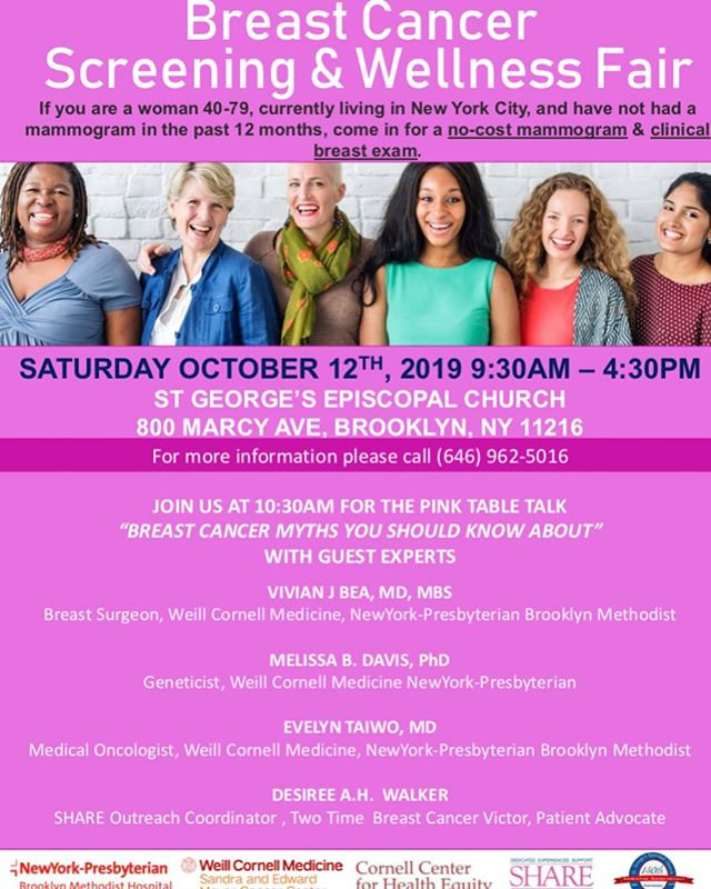 Hey Family,  Save the date for the upcoming Breast Cancer Screening & Wellness Fair. Information is attached!! Please share with your networks. . . #like #share #breastcancerawareness  #breastcancerscreening #freebreastcancerscreening  #nocostmammogram  #clincialbreastexam #brooklyncommunity