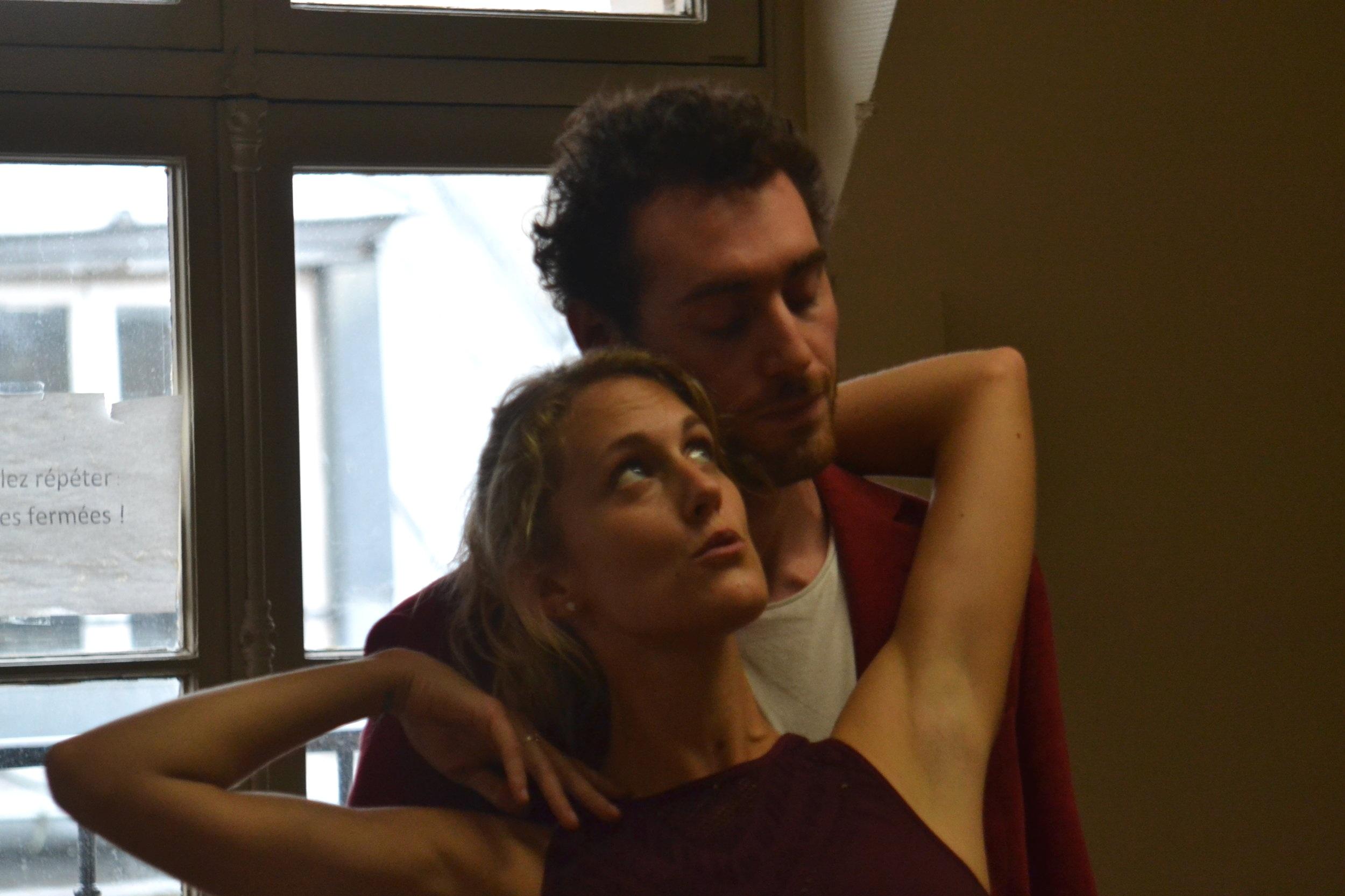 Emily Guernsey & Joshua Stretton rehearse the roles of Helena & Demetrius