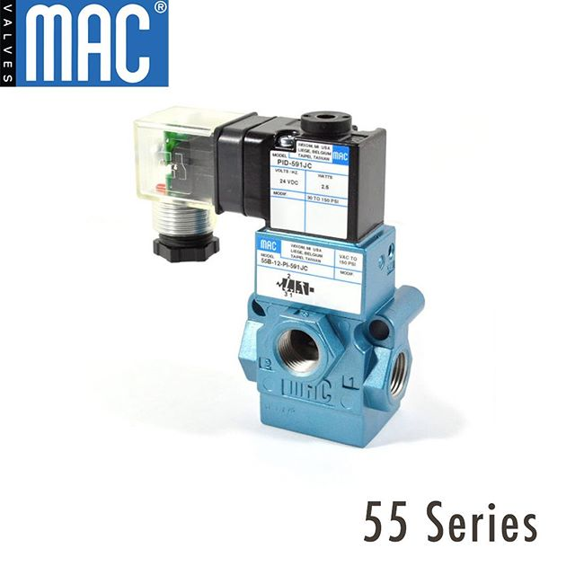 The MAC 55 Series is a 3-way balanced spool valve piloted by a small direct operated balanced poppet valve. This is an extremely versatile valve and can be converted for multiple applications such as: 1. It can be converted for use in vacuum.  2. It can be changed from an Internal Pilot to an External Pilot function by simply rotating the adaptor between the pilot and valve main bodies.  3. It can also be converted to a remote air operated valve by removing the solenoid pilot assembly – just to name a few.  #55series #remotecontrolvalve #MacValves #MacValvesPacific #PulseValve #MiniatureAirValve #3WayValve #4WayValve #SpoolValve #BulletValve #SolenoidValve #PneumaticValve #Engineering #EngineeringIndustry #Industry #MVP #PneumaticEngineering #Pneumatics #CustomEngineering