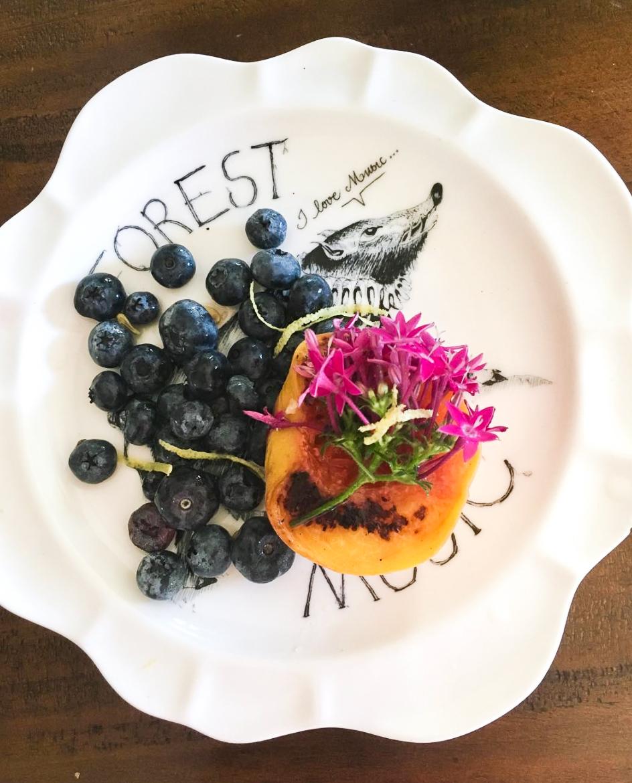 wildflowers and fresh food peach
