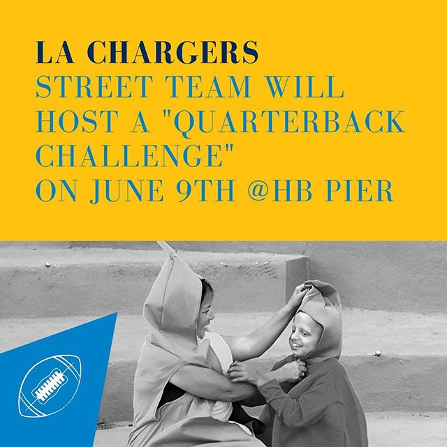 With the help from our friends at the @chargers we're adding an inflatable #quarterback challenge to our list of event activities on June 9th. . Put your fruit/vegetable costume on, join the #LAChargers street team, and help @miraclesforkids break a #worldrecord! . For a full view of our agenda visit the link in bio 🤙🏼 . #chargers #football #huntingtonbeach #cityofhb #chairty #nonprofit #socal #california #surfcity #surfcityusa #banana #thenextfunthing #huntingtonpeach