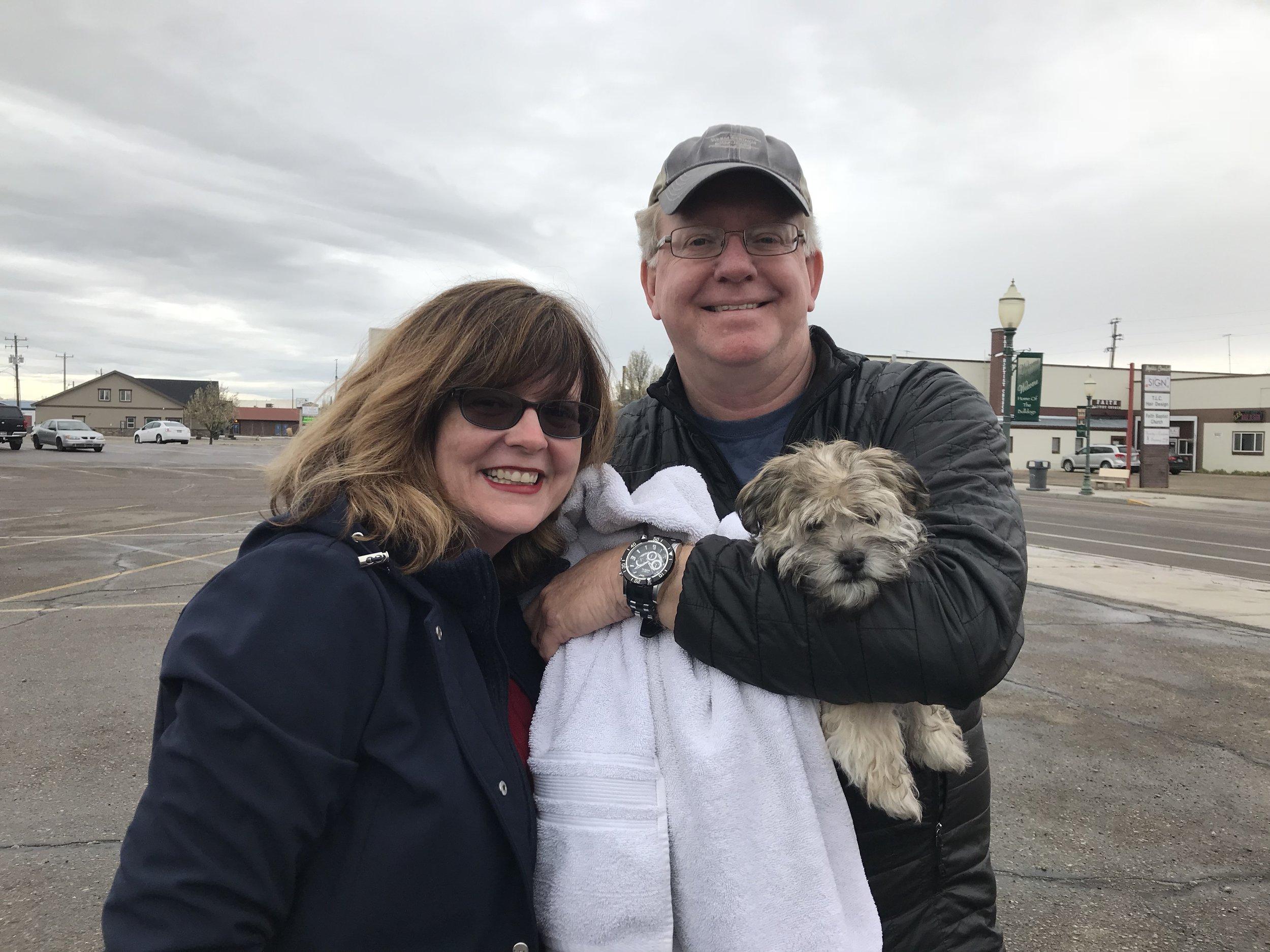 Kuma and his new family in Star, Idaho.