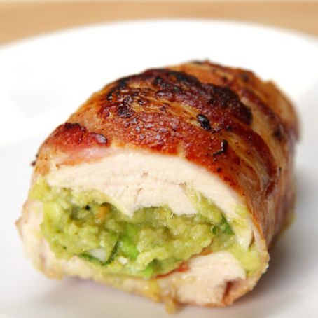 Magical Bacon wrapped chicken stuffed with guacamole.