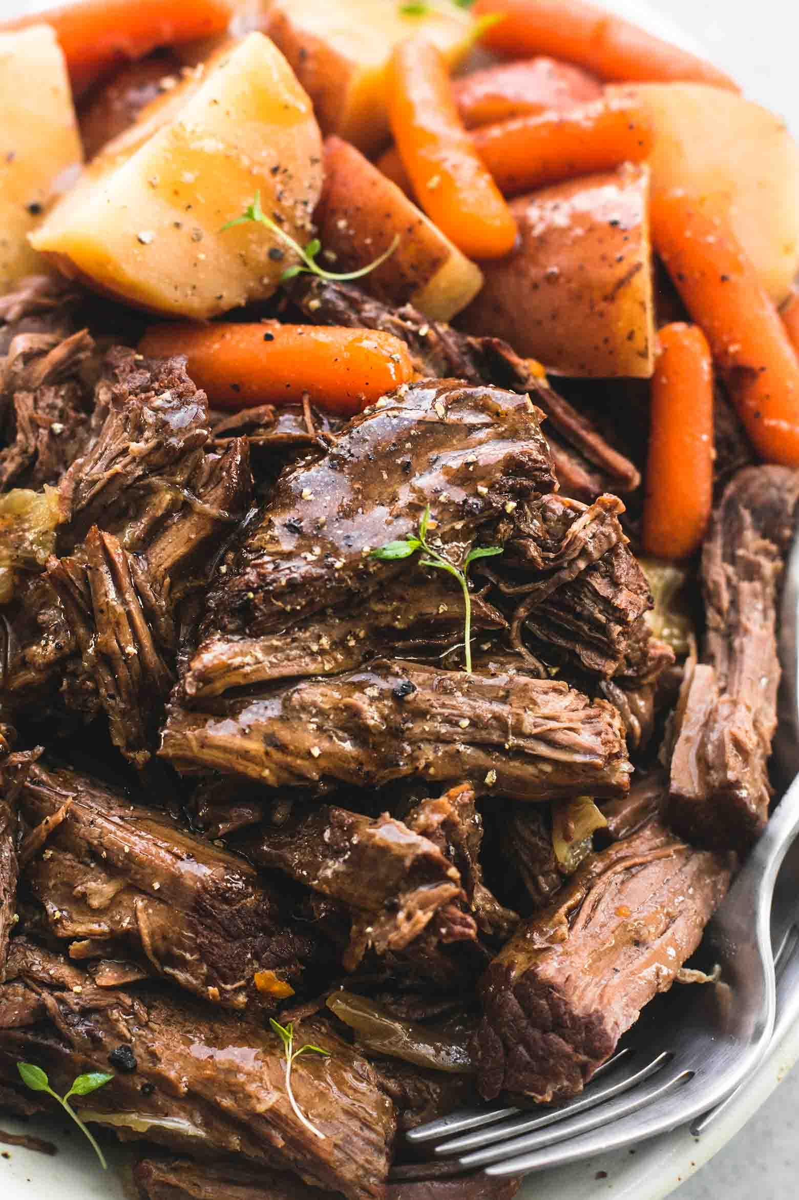 Fairy Tale Pot Roast with carrots and potatoes.