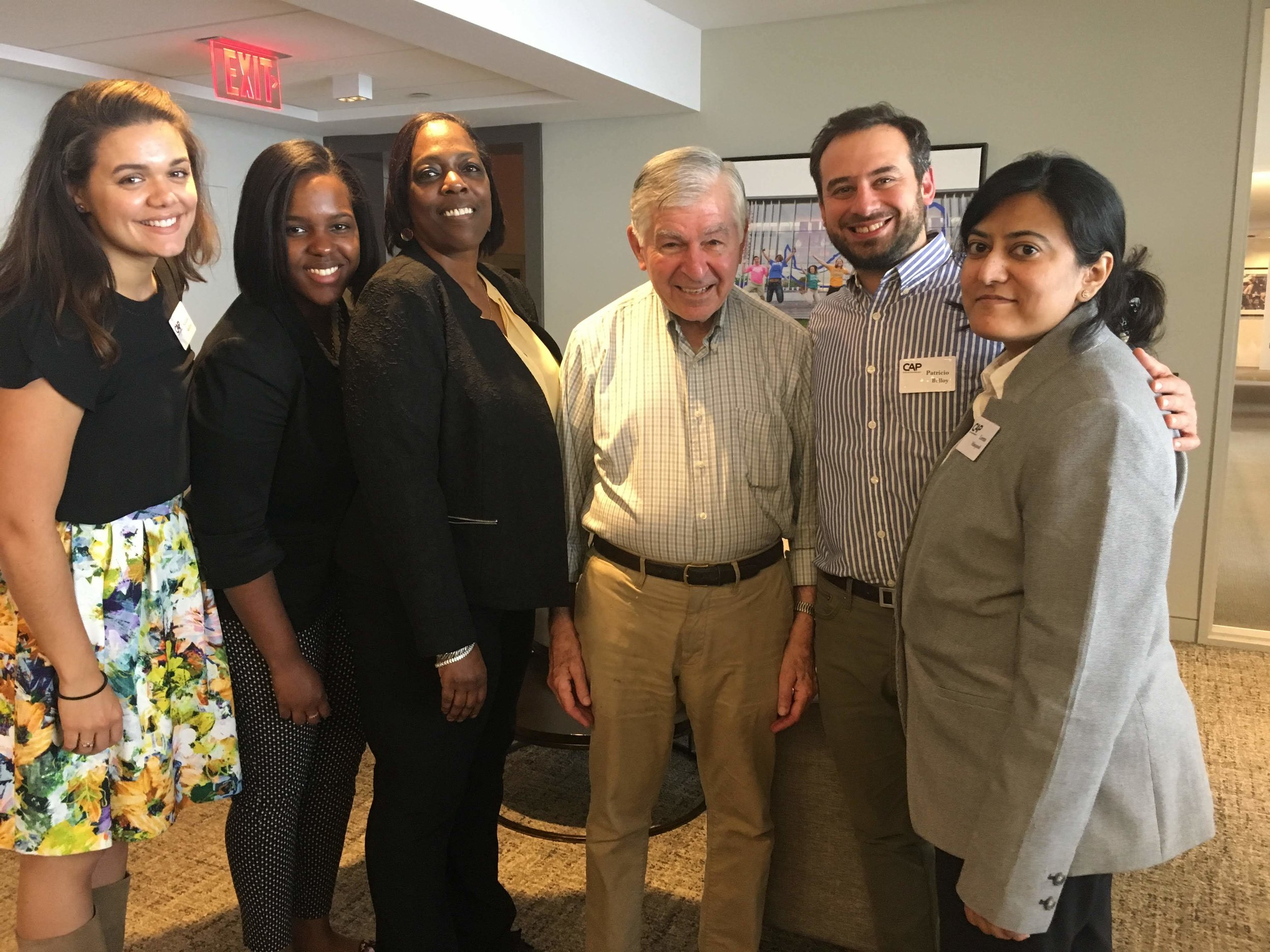 Former Governor and Presidential Candidate Michael Dukakis with UMass Boston Fellows, (from Left) Natalie Shellito, Rachelle Jeanty, Esther Rogers, Patricio Belloy and Lena Masqood on June 5th