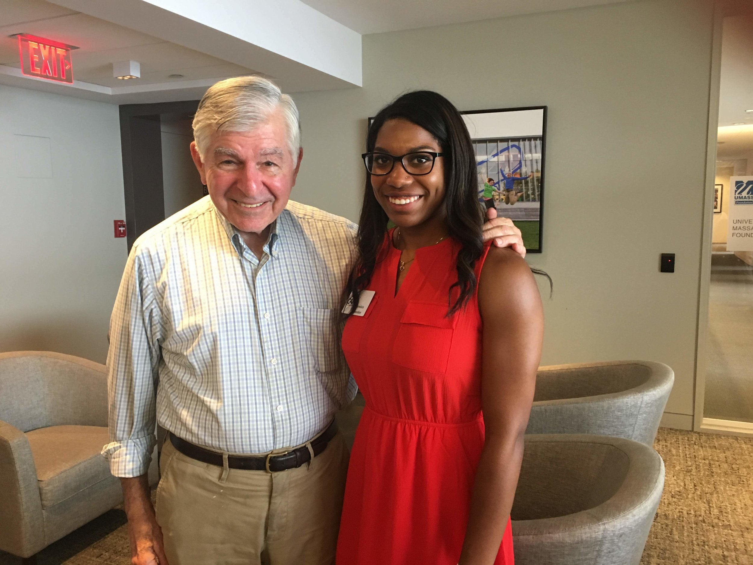 Former Governor and Presidential Candidate Michael Dukakis with UMass Lowell Fellow, Jessica Amedee on June 5th