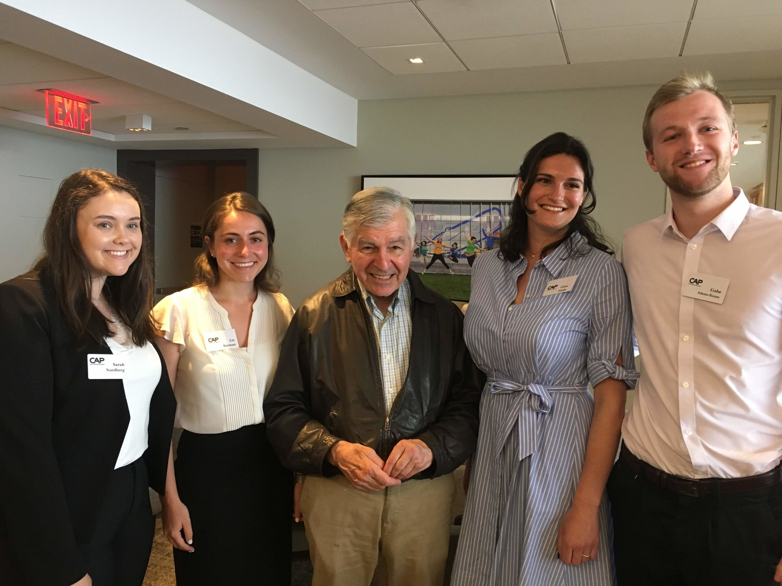 Former Governor and Presidential Candidate Michael Dukakis with UMass Amherst Fellows, (from left) Sarah Nordberg, Liz Berman, Gina Vitale, and Gabe Adams-Keane on June 5th.