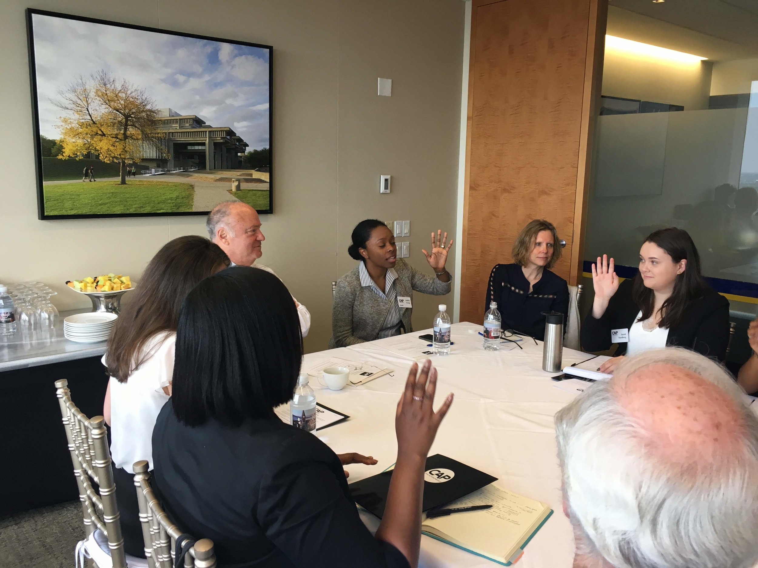 CAP Founders Steve Crosby and Judith Young, and UMass Amherst Dean of Public Policy, Satu Zoller lead discussion with CAP Fellows on June 5th 2019.