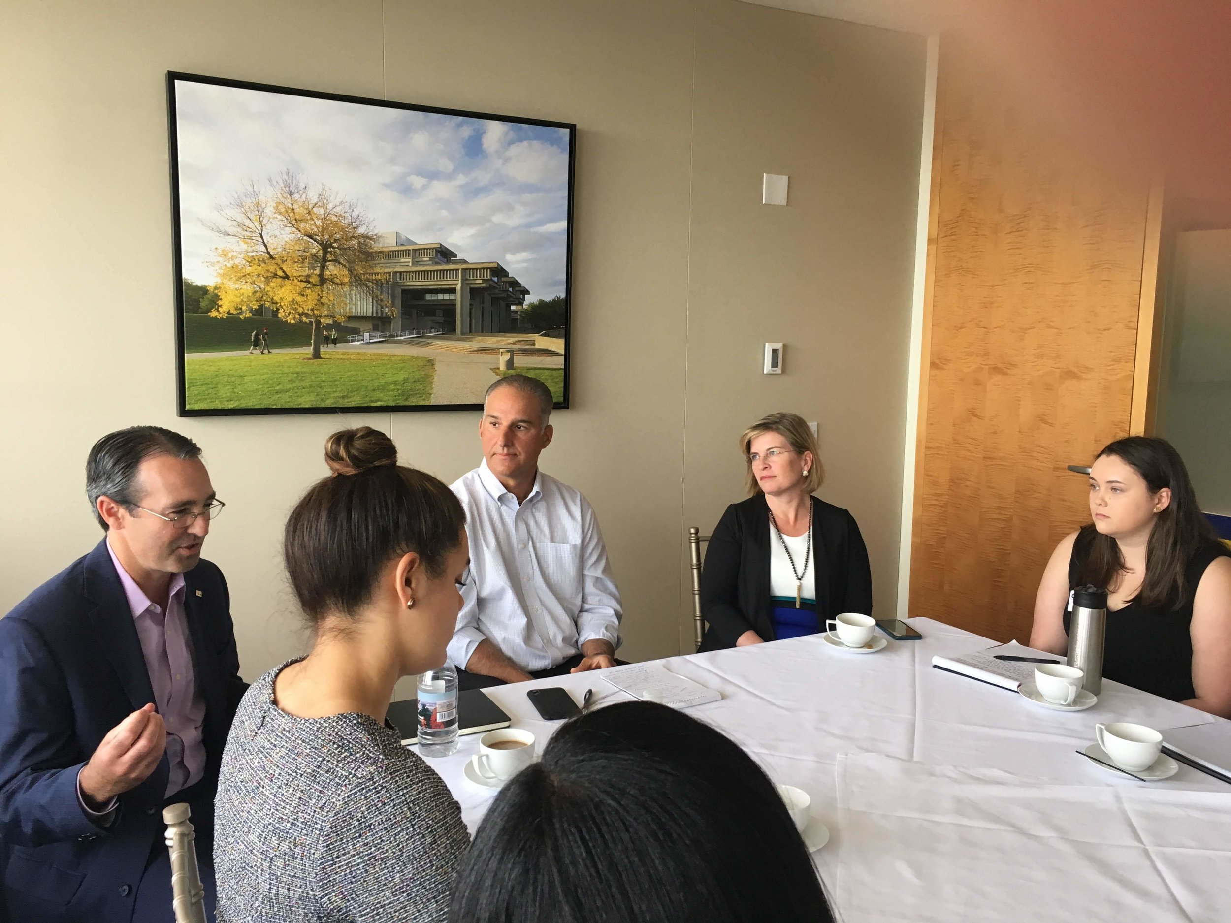 Tim Foley, Doug Rubin and Representative Marjorie Decker talk about the importance of strategy, policy and campaign management with CAP Fellows on June 12.