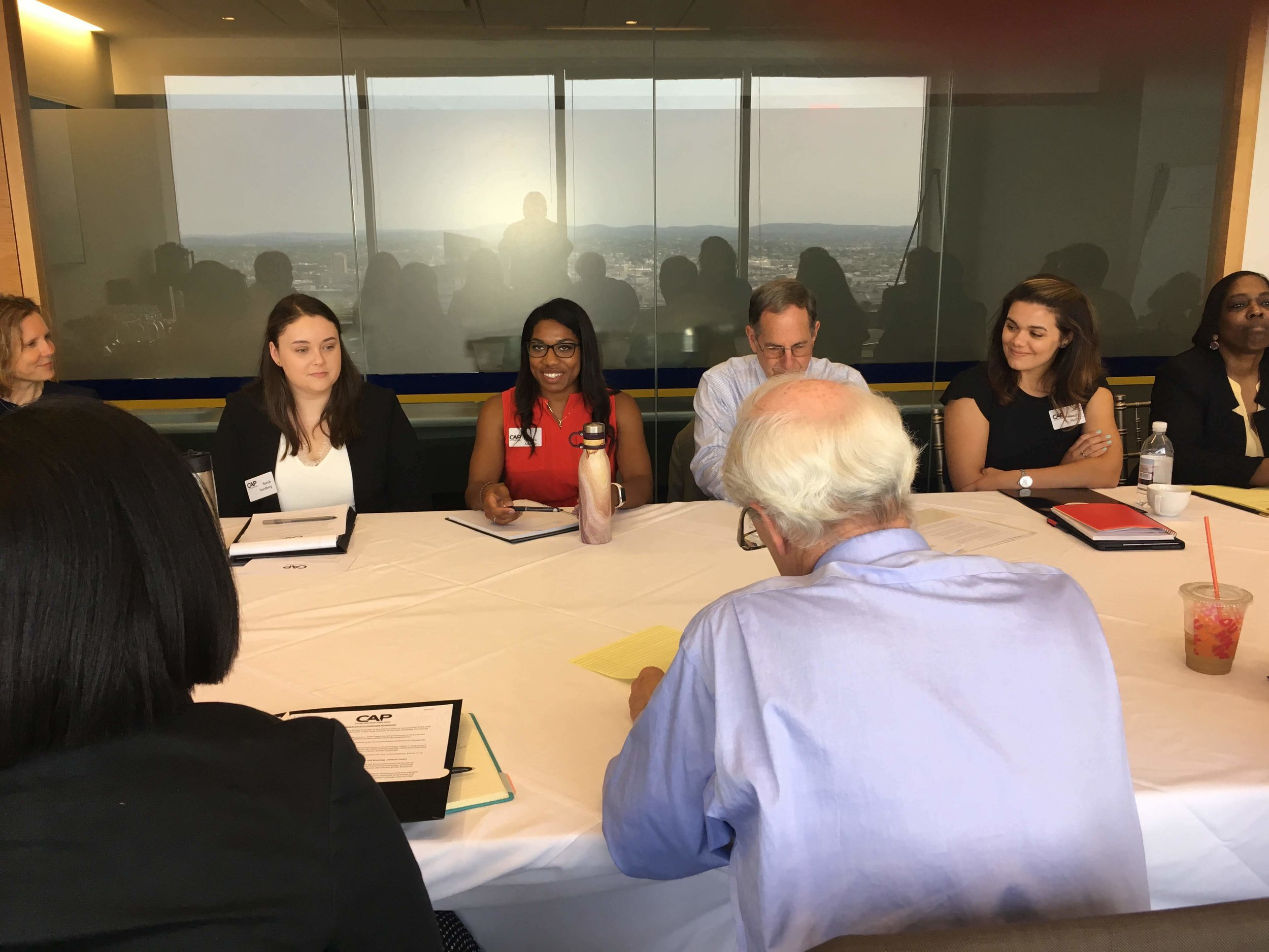 From Left, UMass Dean Satu Zoller, CAP Fellows Sara Nordberg and Jessica Amedee, Founder Ira Jackson, Fellows Natalie Shellito and Esther Rogers.