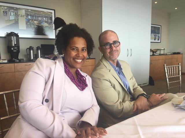 NAACP President and Attorney Tanisha Sullivan and  Keith Mahoney, Vice President of Communications and Public Affairs, The Boston Foundation; visiting with fellows on July 17