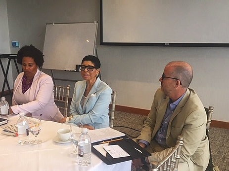 from right:  Keith Mahoney, Vice President of Communications and Public Affairs, The Boston Foundation; Carol Fulp, CEO, The Partnership Inc; and NAACP President, and Attorney Tanisha Sullivan preside over a morning panel on the Importance of Alliance Building and finding Stakeholders to move policy initiatives forward on July 17