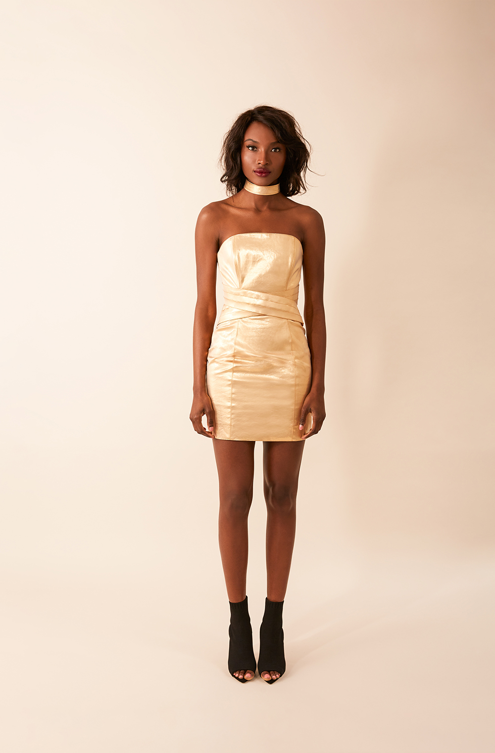 GOLD CRISS CROSS MINI DRESS