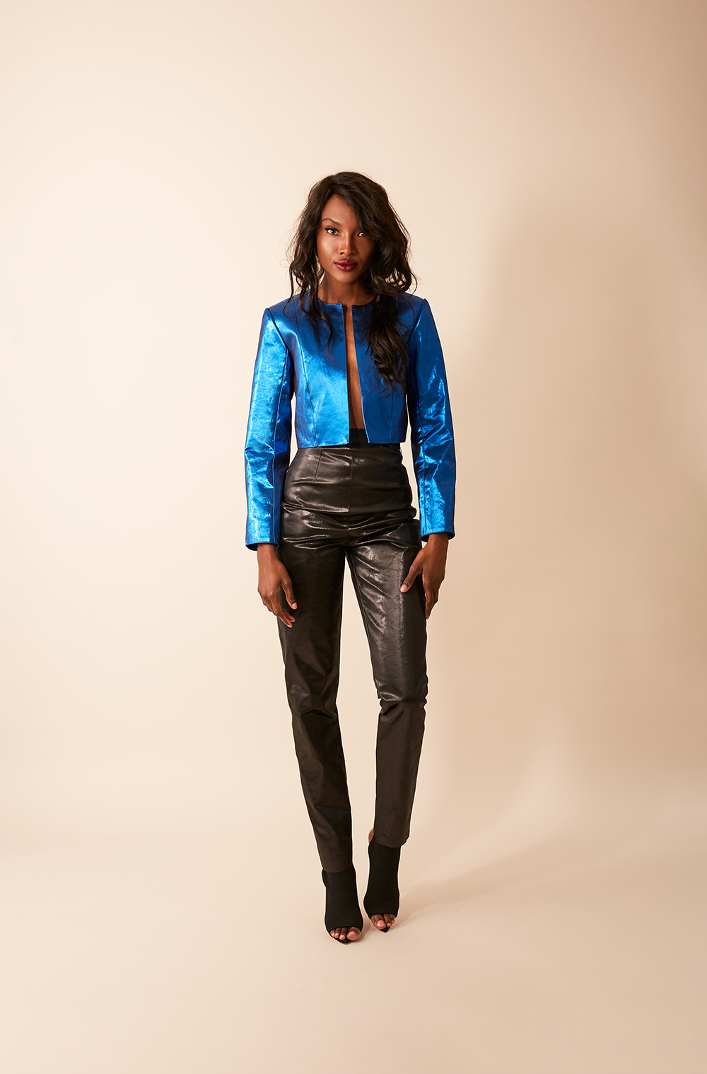 METALLIC BLUE CROPPED JACKET