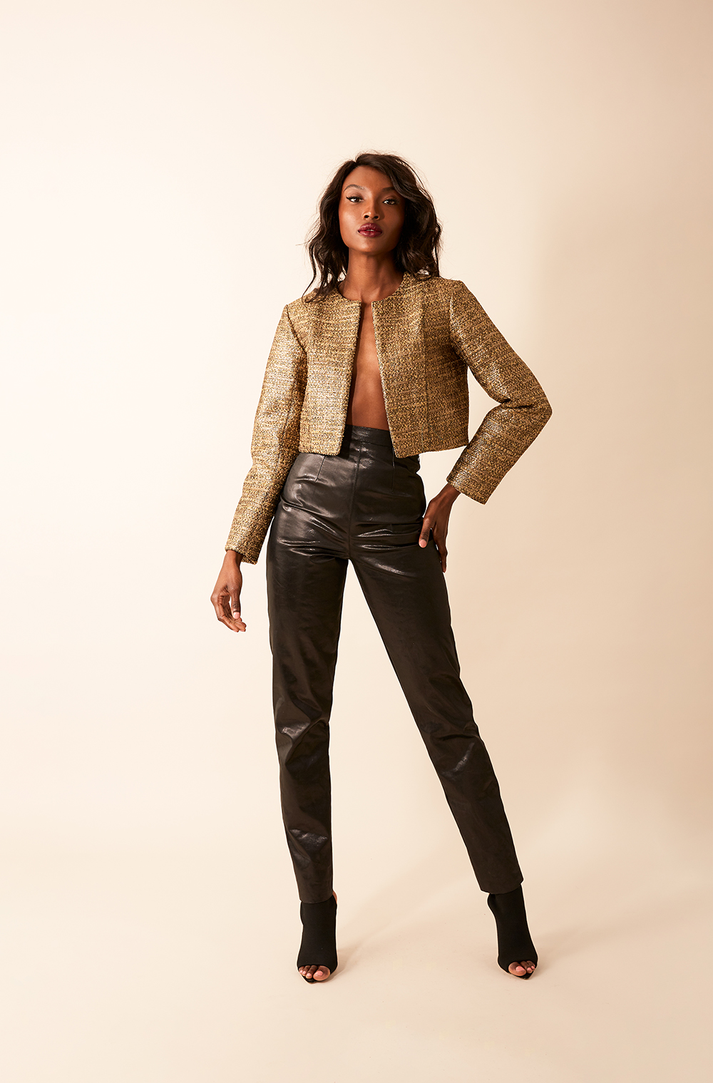 GOLD CROPPED JACKET