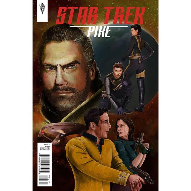 This is a mock up comic. I wanted to do an illustration of a Star Trek comic cover as that'd be a dream job one day. The idea is based on the mirror universe seen in #startrek #startrekdiscovery #startrekdeepspacenine #startrektos here mirror #christopherpike has tasked #jamestkirk and #Una to find prime #captainlorca who's being helped by mirror #katrinacornwell all just for fun and painting practice #comiccover #fanart #scifi #sciencefiction #scifiart #startrekart #illustration #terranempire