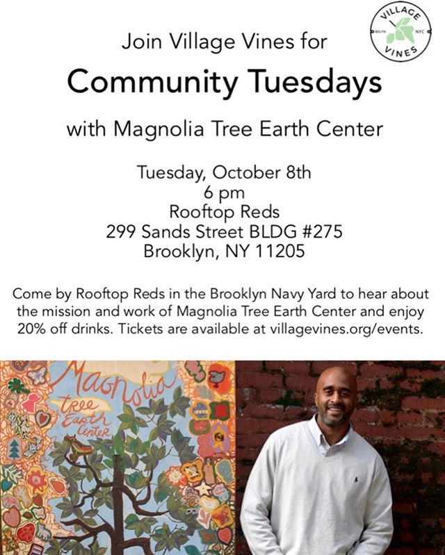 Don't forget to get tickets for our last Community Tuesday with the @magnoliatreeearthcenter on 10/8! (Free) Tickets in bio and 20% off drinks all night.  The Magnolia Tree Earth Center strives to create community awareness of ecological, horticultural, and environmental concerns and to introduce inner city children to STEM careers to foster urban beautification, earth stewardship, and community sustainability.