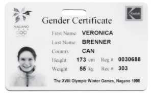 "1998, Veronica Brenner: The Canadian skier's ""femininity card"" which certifies her XX chromosomes"