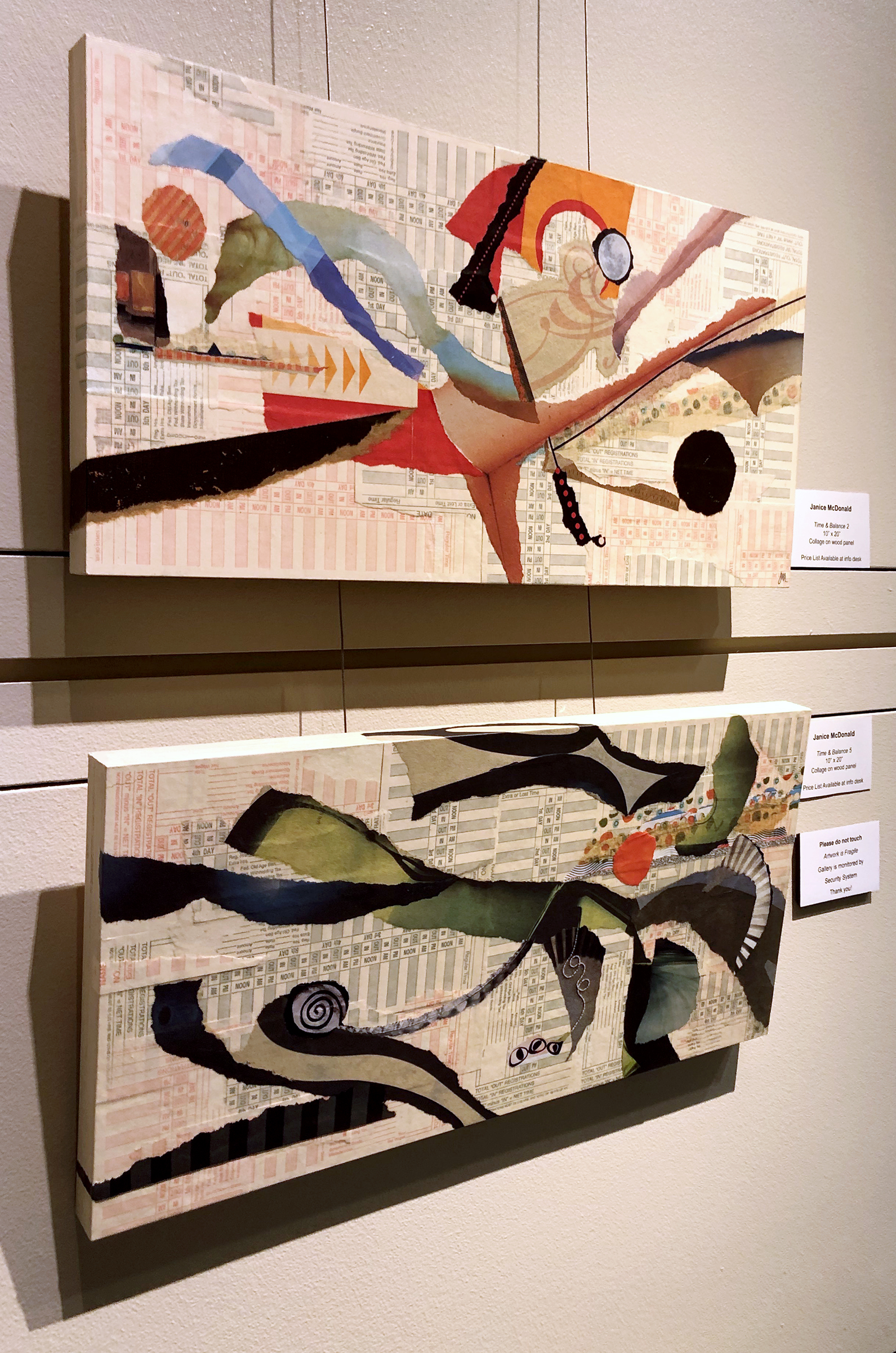 Collages from the time and balance series, which incorporate time cards and assorted found papers, including newspapers.