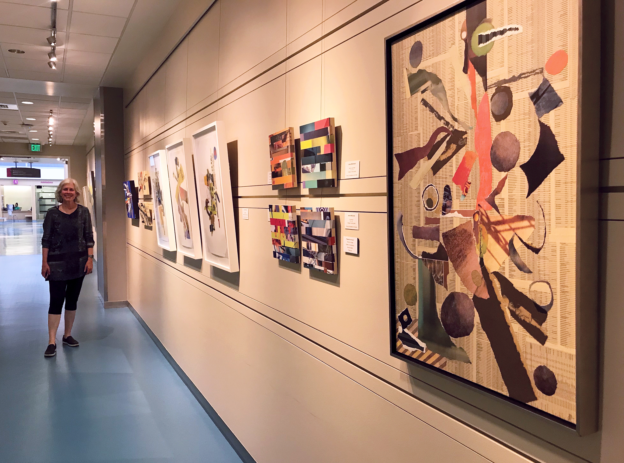 A view of my section of the exhibition, with thanks to curator Heidi Huisjen, who selected works that represent nearly my whole collage-making career… loved seeing them all hanging together.