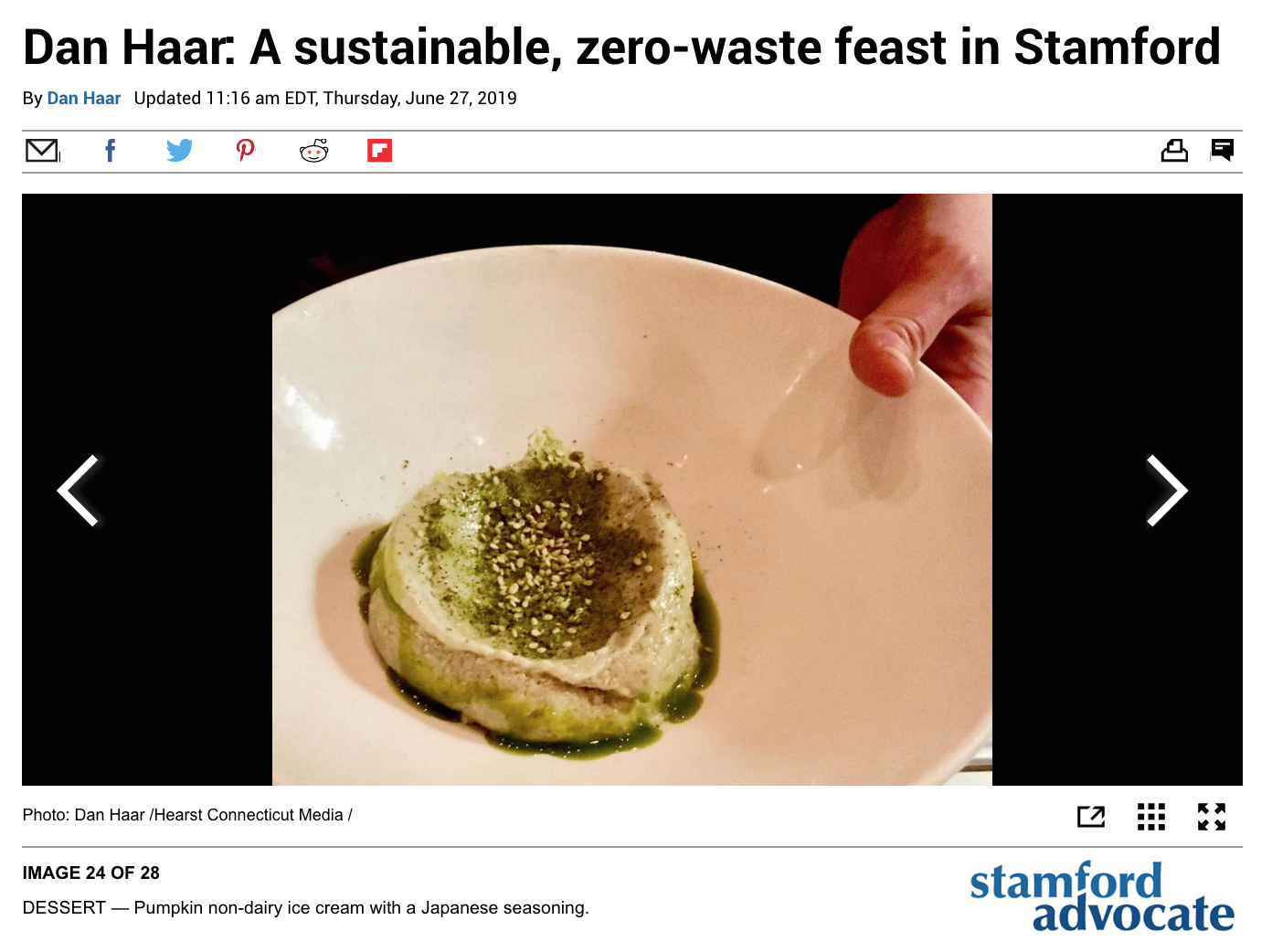 "Stamford Advocate: ""Dan Haar: A sustainable, zero-waste feast in Stamford"" - ""If the aim was to spark a new industry in Connecticut, it was a powerful debut statement."" June 27, 2019"