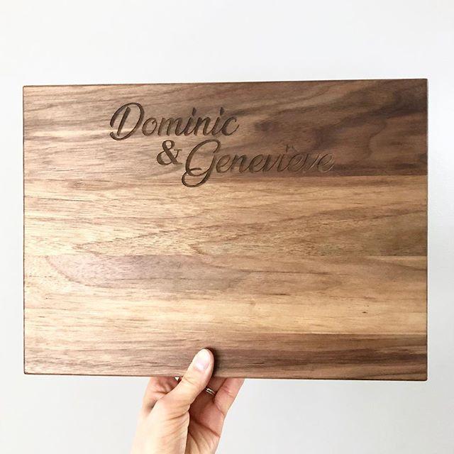Walnut, how are you so awesome? #walnut #favouritewood #cuttingboard #custom #laserengraving #happycouple #engaged #livingedgestudio