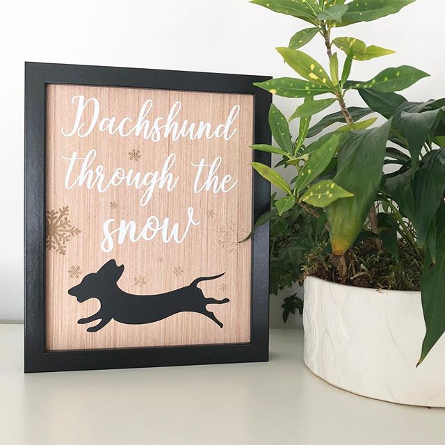 """Dachshund through the snow! ❄️ ❄️ ❄️ 8x10"""" Wood Print #dachshund #woodprint #dachshundlover #livingedgestudio"""