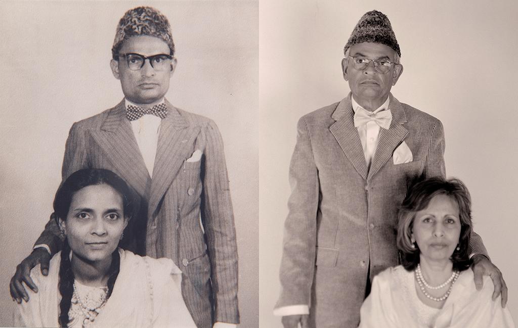 Syed Ali Naqvi and Shehrbano Naqvi, Patna India 1947. Afsar and Rehana Naqvi, Toronto Canada, 2012.