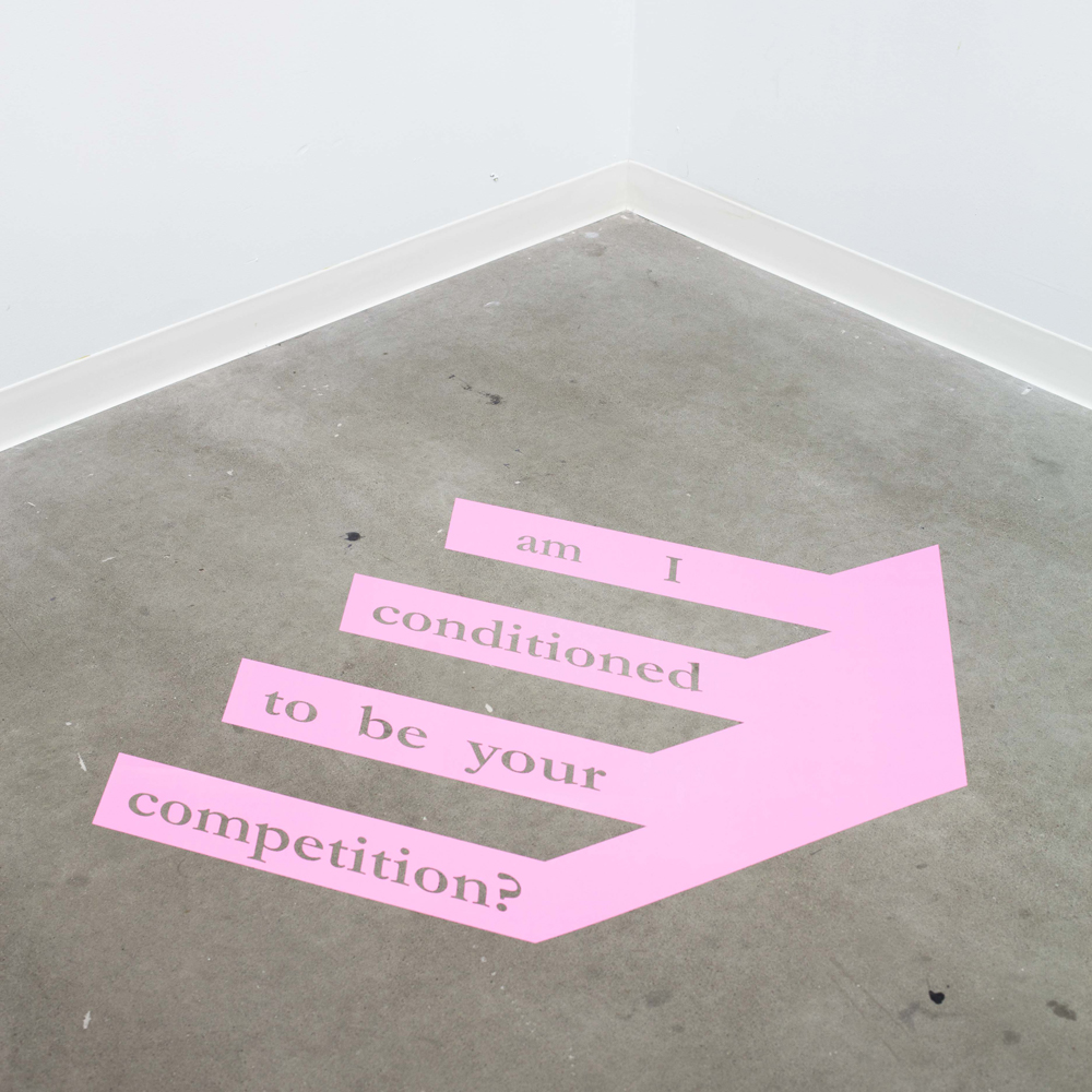 Am I Conditioned to be Your Competition?   Adhesive Vinyl on floor, 30 x 36""