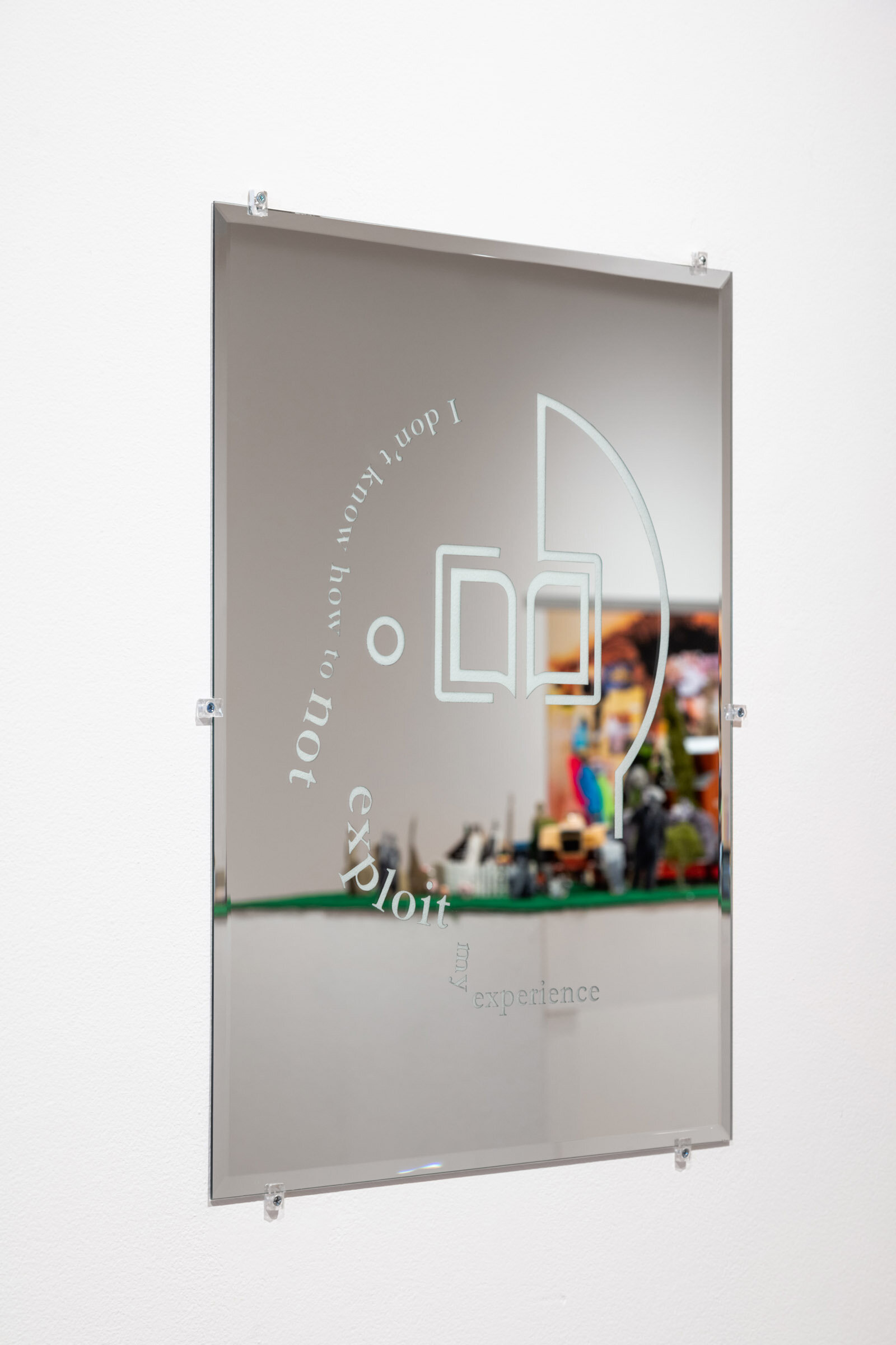 """I Don't Know How to Not Exploit My Experience.  Mirror, 18 x 24"""". Installation view from Forest City Gallery."""