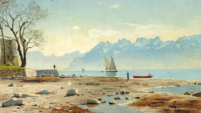 Peder Mønsted Springtime at Lac Léman in Switzerland