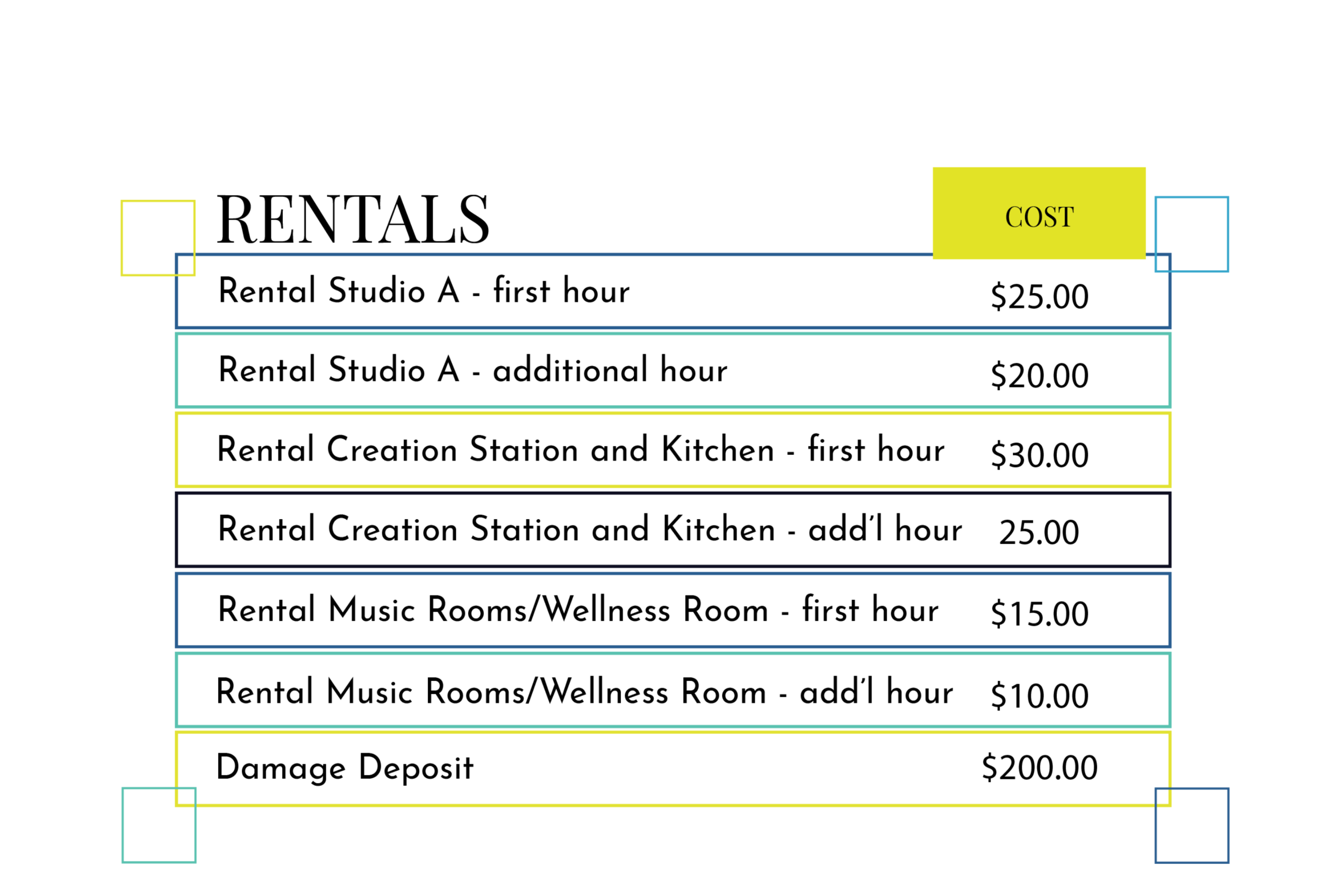 prices do not include HST