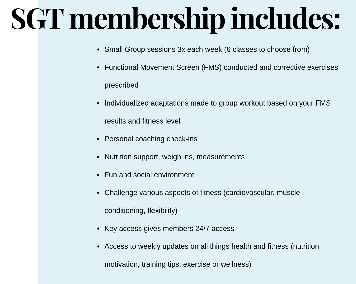 SMALL GROUP TRAINING MEMBERSHIP - $190/month +hst (all inclusive)
