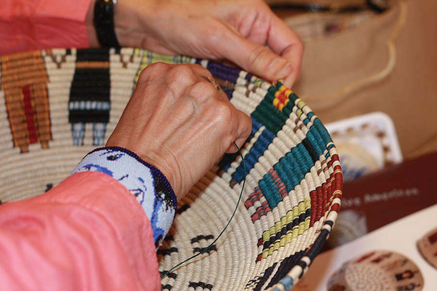 Blending Contemporary & Traditional Themes… - Carol's medium makes its mark with a wide array of contemporary colors and stories to tell within the traditional medium of coiled basketry.This gallery presents a wide variety, although not all of her work.