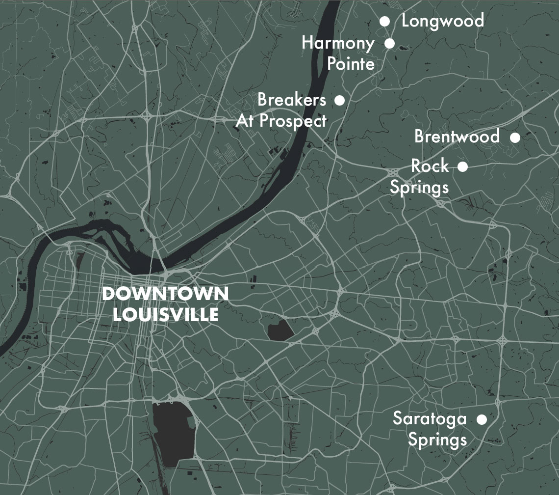 Looking for a home in the Louisville area? Many of our available areas are just a short drive from Downtown Louisville!
