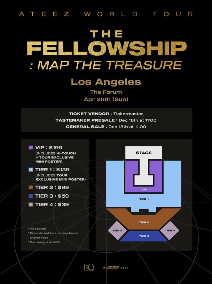 Ateez 에이티즈 The Fellowship Map The Treasure Tour In Los Angeles Ateez 8 Makes 1 Team