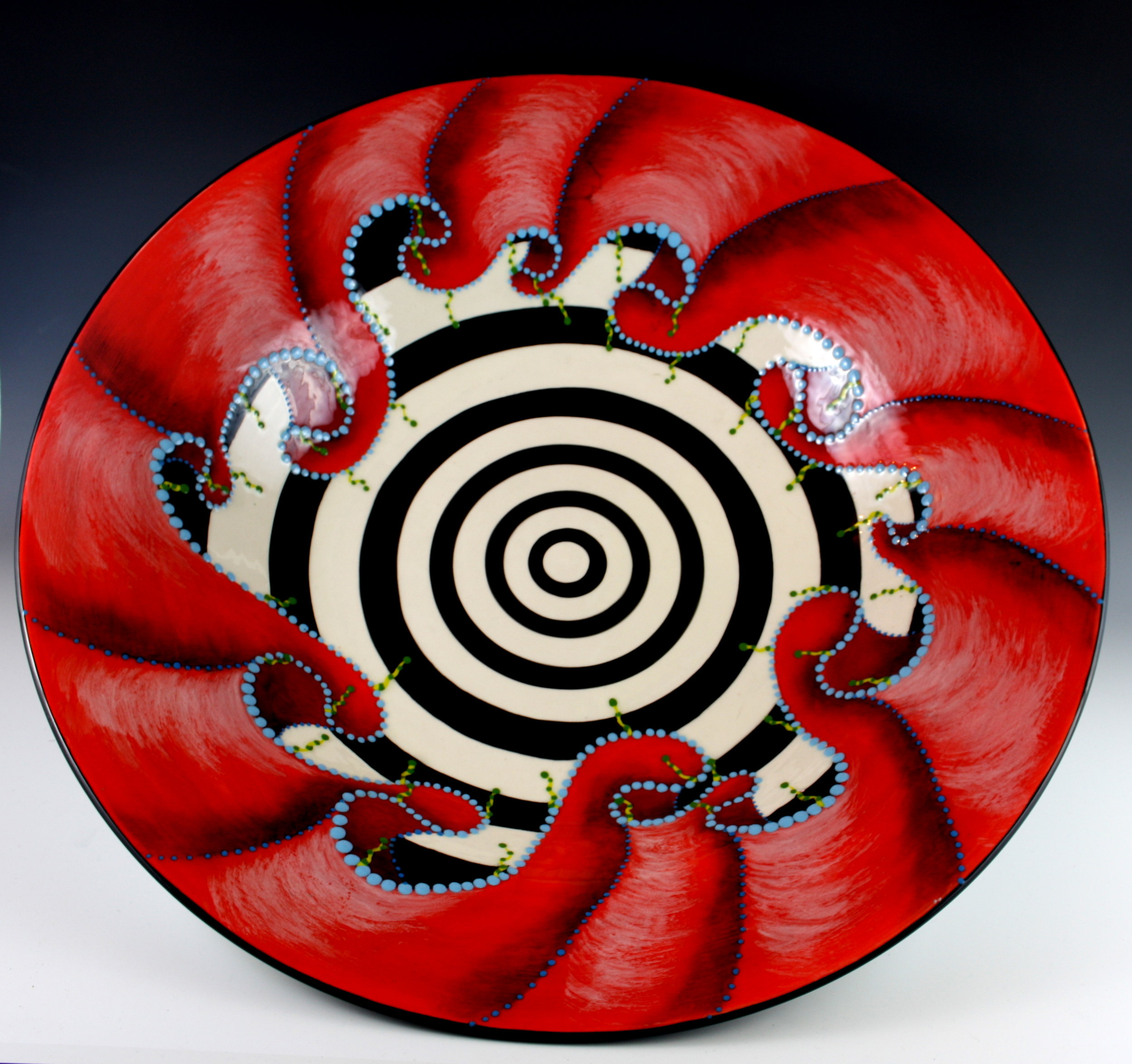 "Red Ruffle Bowl,  22""x 5"", $375"