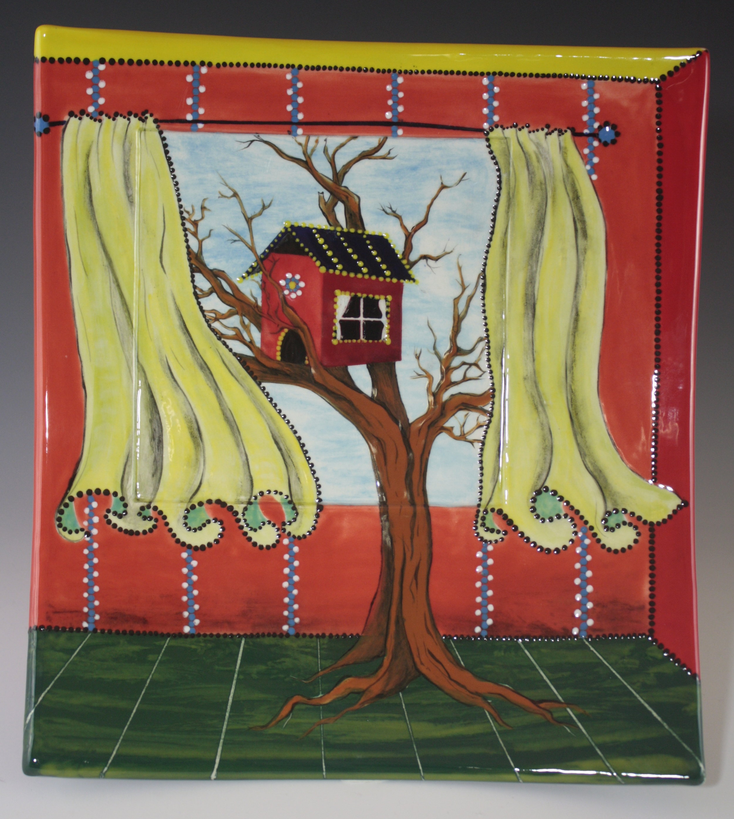 "Red Tree House Tray, 12"""