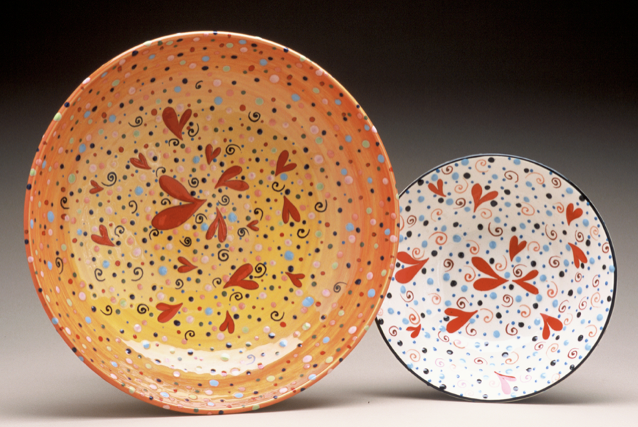 "Orange and White Heart Bowls,   20"" and 12"""