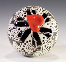 """Red Heart Urn, 7"""" stopper in bottom"""