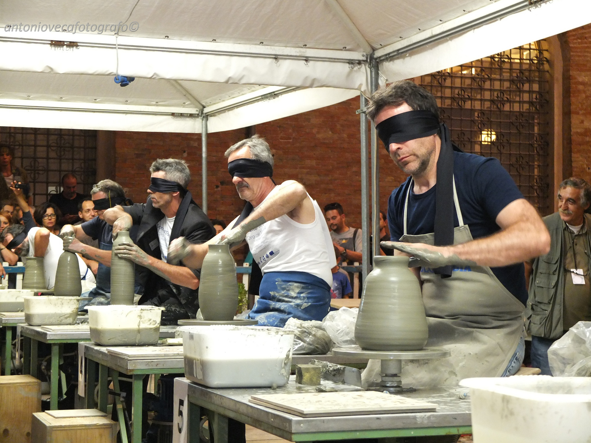 For fun one night, everyone did blindfold throwing attempting to replicate a pot they only had moments to look at.