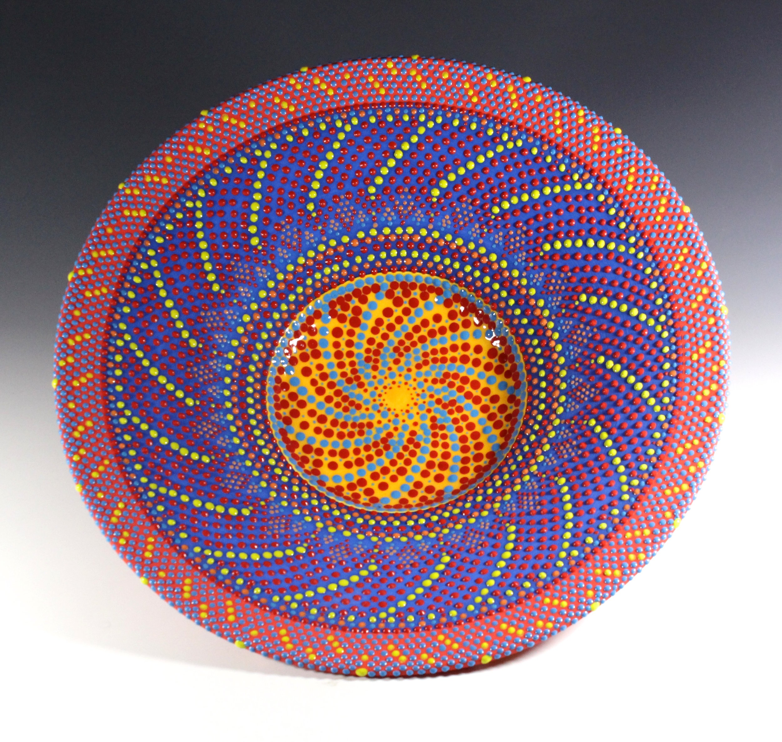 Yellow Lines Dot Bowl,   16""