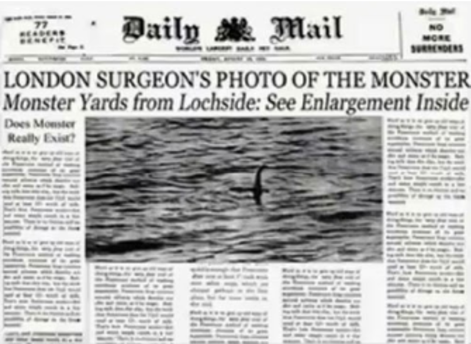 Figure 3: The Daily Mail, London Surgeon's Photo Of The Monster, 1934