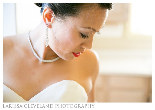 Our blushing bride, Elisa, wearing an Art Deco diamond necklace and earrings on her wedding day.