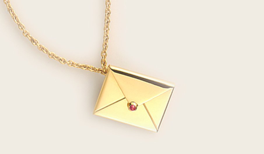 For the girl who writes you sweet little love notes, give her a gift of words in Inscribed envelope pendants.