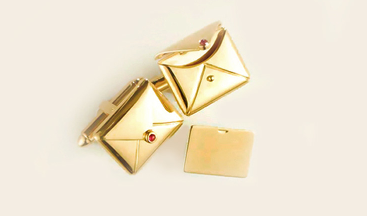Celebrate the poet in him with Inscribed envelope cufflinks.