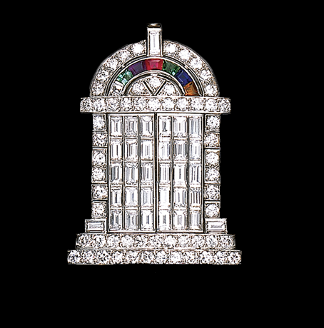 """An Art Deco """"Temple of Love"""" brooch, featuring baguette diamonds on the hinged doors. It was offered by Christies's as Lot 204 in a New York sale in October 2001. By Black, Starr & Frost."""