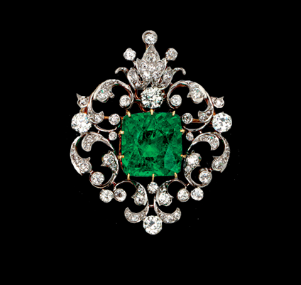 A Rare Victorian Emerald and Diamond Pendant Brooch, created in 1880 by Black, Starr & Frost.